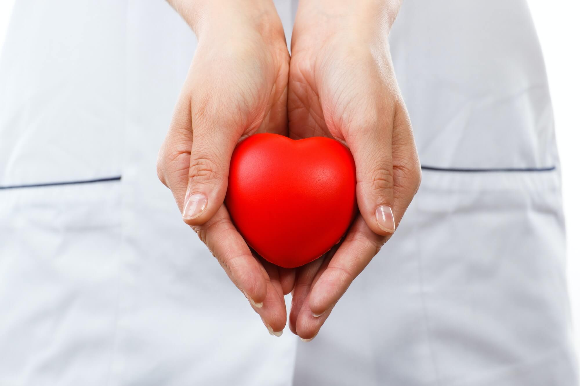 Doctor holding red heart in hand, healthcare concept